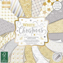 First Edition set paperja,  papir White Christmas 15x15cm FEPAD2223X19